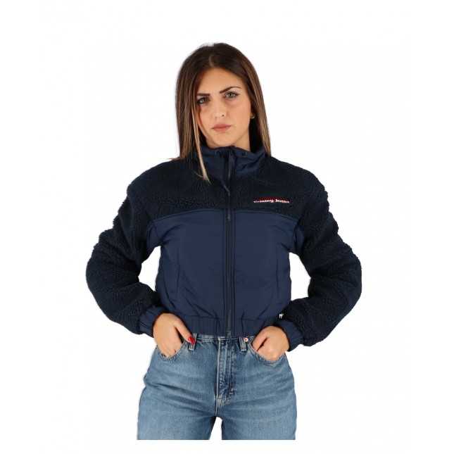 Tommy Jeans Giacca Donna Blu Mix Media Jacket Twilight Navy