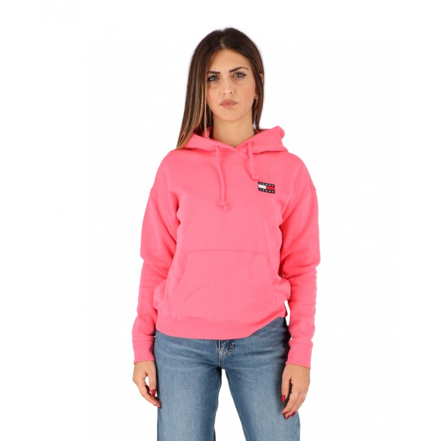 Tommy Jeans Felpa Donna Rosa Badge Hoodie Glamour Pink