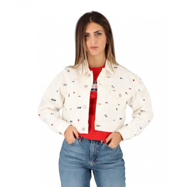 Tommy Jeans Giacca Donna Bianca Cropped Trucker Jacket Star Critter White Rigid
