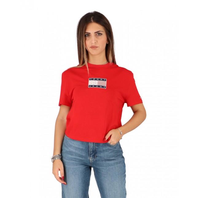 Tommy Jeans T-Shirt Donna Rossa Star Americana Flag Tee Deep Crimson