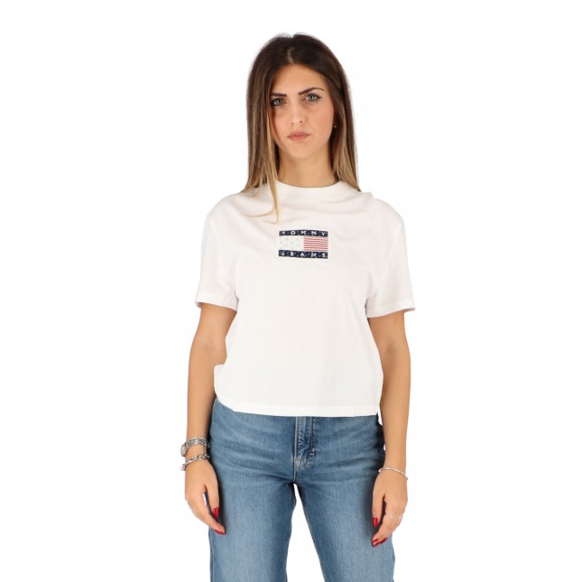 Tommy Jeans T-Shirt Donna Bianca Star Americana Flag Tee White