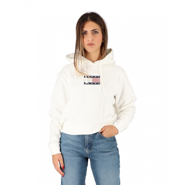 Tommy Jeans Felpa Donna Bianca Americana Badge Hoodie White