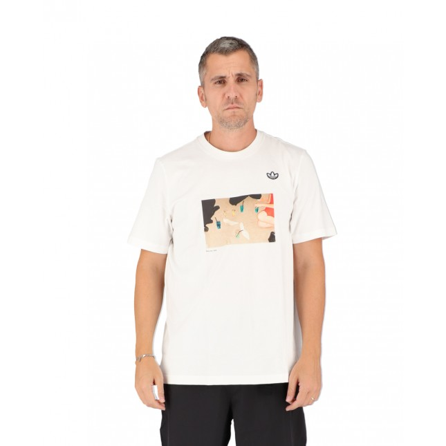 Adidas T-Shirt Uomo Bianca Samstag Photo Tee White