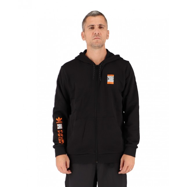 Adidas Felpa Uomo Nera Adventure Logo Full Zip Hoodie Black
