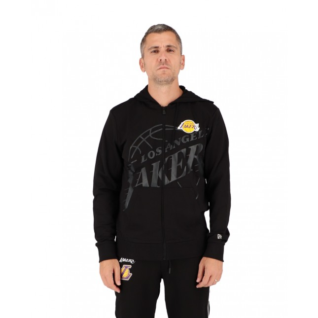 New Era Felpa Uomo Nera Big Logo Full Zip Hoodie NBA Los Angeles Lakers Black