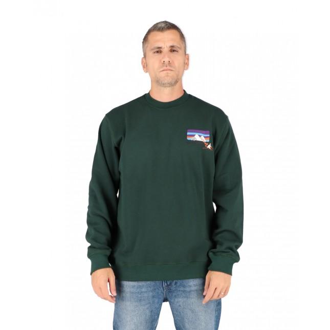 Pas De Mer Felpa Uomo Verde Mountain Sweatshirt Dark Green