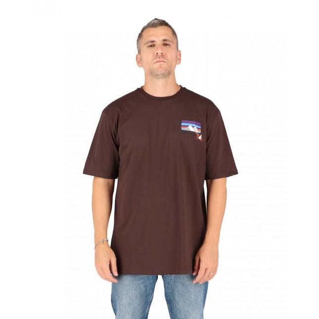 Pas De Mer T-Shirt Uomo Marrone Mountain Tee Brown