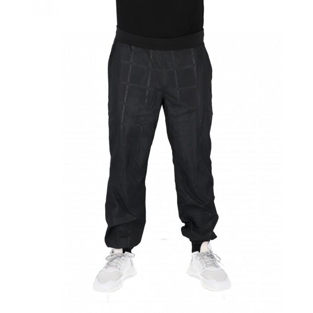 Calvin Klein Pantaloni Uomo Neri AOP Grid Belted Nylon Jogger CK Black