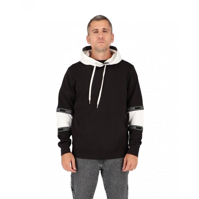 Calvin Klein Felpa Uomo Nera Blocking Logo Tape Hoodie CK Black