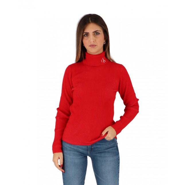 Calvin Klein Maglia Donna Rossa Rib Roll Neck CK Red Hot / Bright White