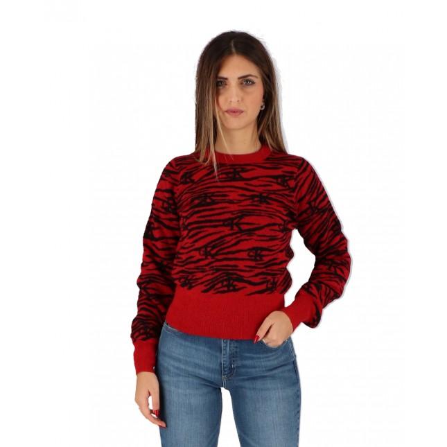 Calvin Klein Maglione Donna Rosso Zebra Sweater Red Hot