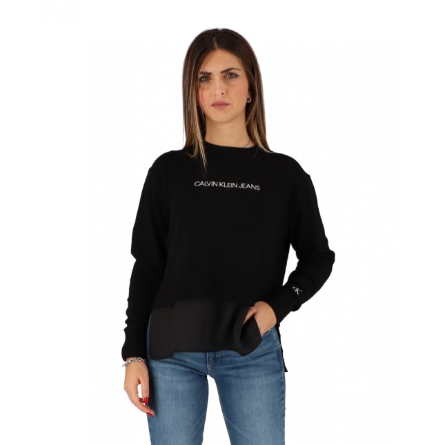 Calvin Klein Maglione Donna Nero Mixed Media Crewneck Sweater CK Black
