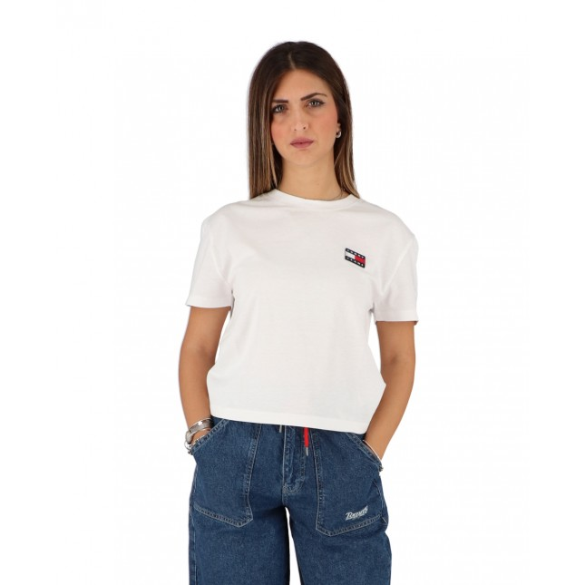 Tommy Jeans T-Shirt Donna Bianca Badge Tee Classic White