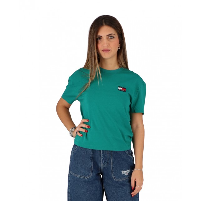 Tommy Jeans T-Shirt Donna Verde Badge Tee Midwest Green
