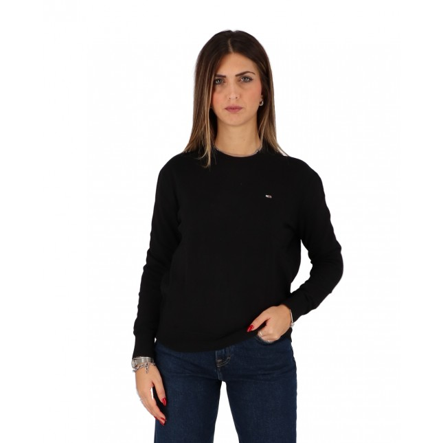 Tommy Jeans Maglione Donna Nero Soft Touch Crew Sweater Black