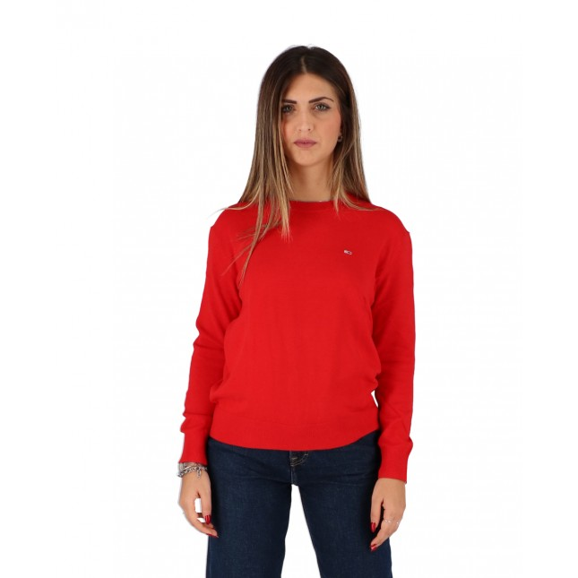 Tommy Jeans Maglione Donna Rosso Soft Touch Crew Sweater Deep Crimson