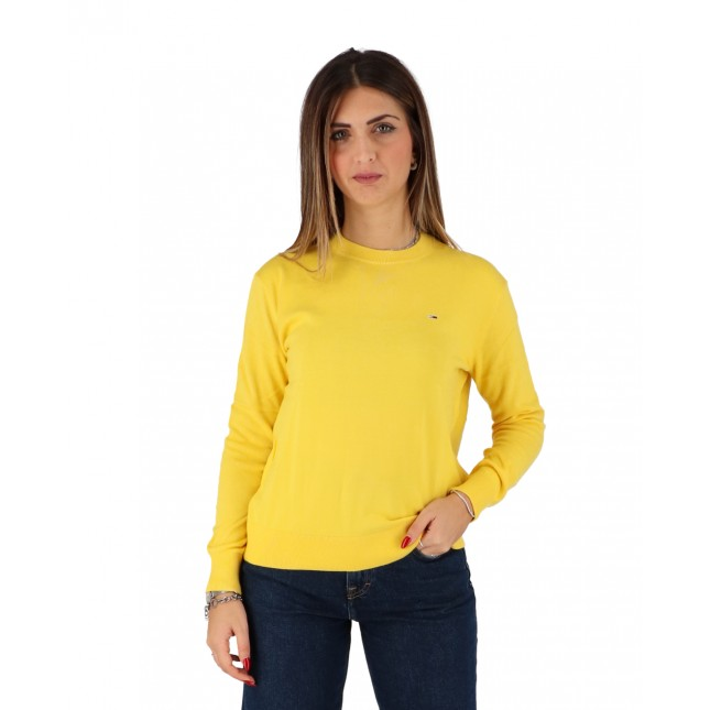 Tommy Jeans Maglione Donna Giallo Soft Touch Crew Sweater Star Fruit Yellow