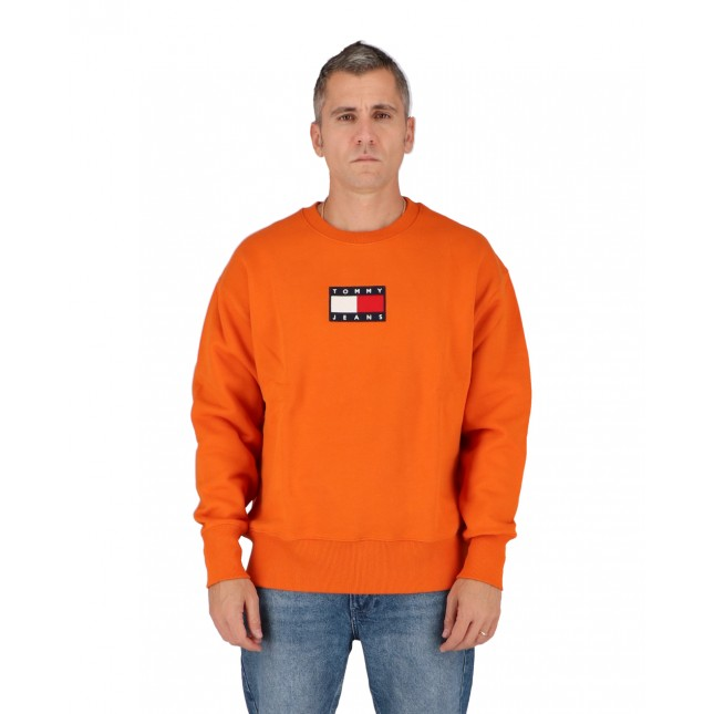 Tommy Jeans Felpa Uomo Arancio Small Flag Crew Bonfire Orange