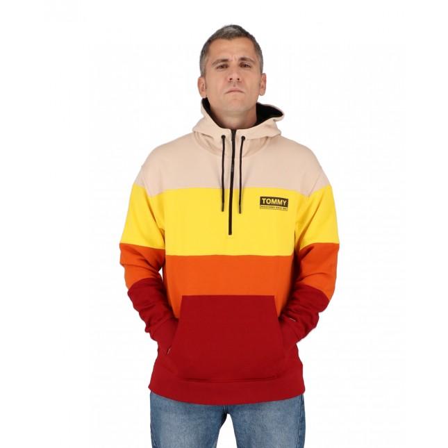Tommy Jeans Felpa Uomo Half Zip Colorblock Hoodie Wine Red / Multi