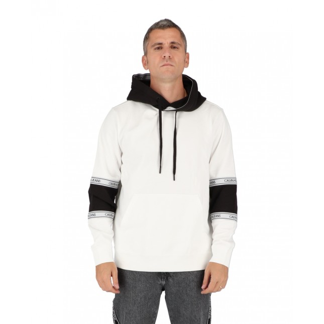 Calvin Klein Felpa Uomo Bianca Blocking Logo Tape Hoodie Bright White