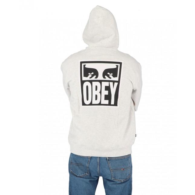 Obey Felpa Uomo Grigia Eyes Icon 2 Premium Hooded Fleece Heather Ash