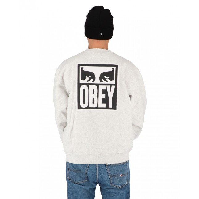 Obey Felpa Uomo Grigia Eyes Icon 2 Premium Crew Fleece Ash Grey