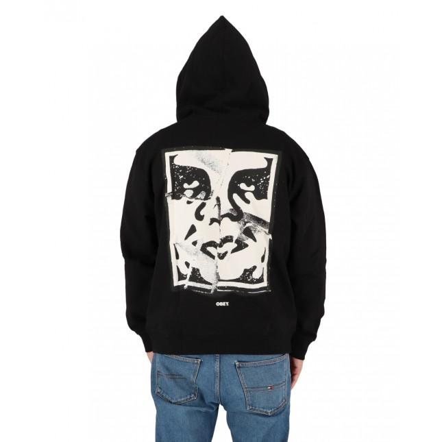 Obey Felpa Uomo Nera Cracked Icon Premium Zip Hooded Fleece Black