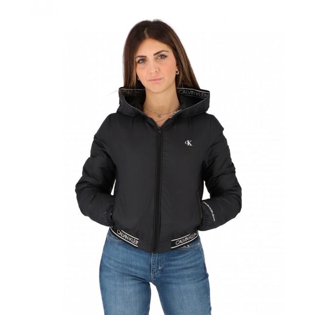 Calvin Klein Giubbotto Donna Nero Logo Hooded LW Padded Jacket CK Black