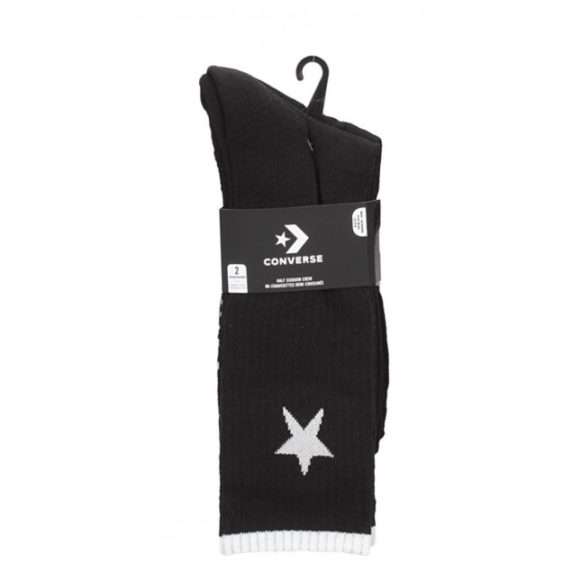 Converse Calze Nere 2PP Bars And Stars Crew Black
