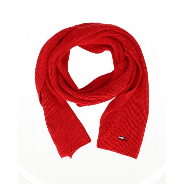 Tommy Jeans Sciarpa Rossa Basic Flag Rib Scarf Deep Crimson