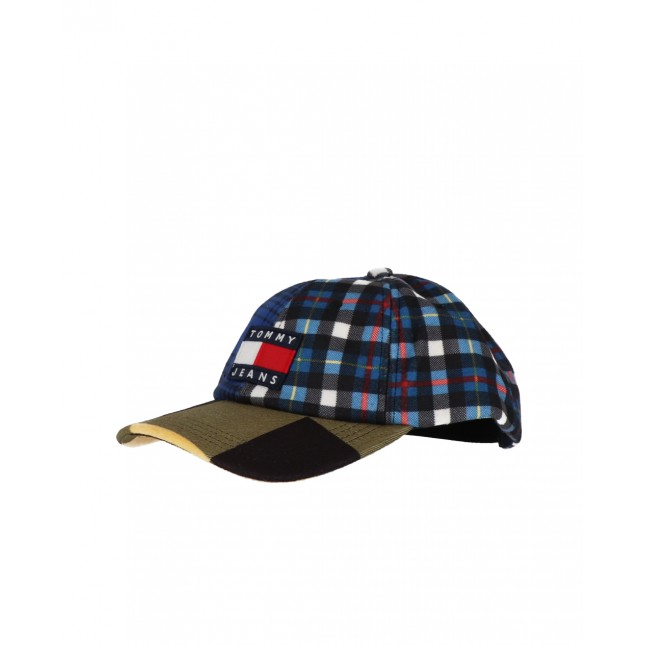 Tommy Jeans Cappello Heritage Cap Check Blue / Yellow Check Mix