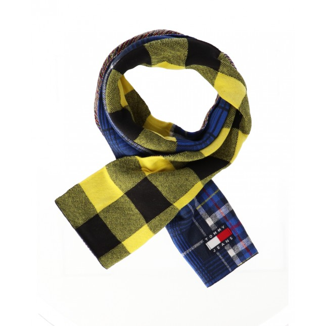 Tommy Jeans Sciarpa Heritage Scarf Check Blue / Yellow Check Mix
