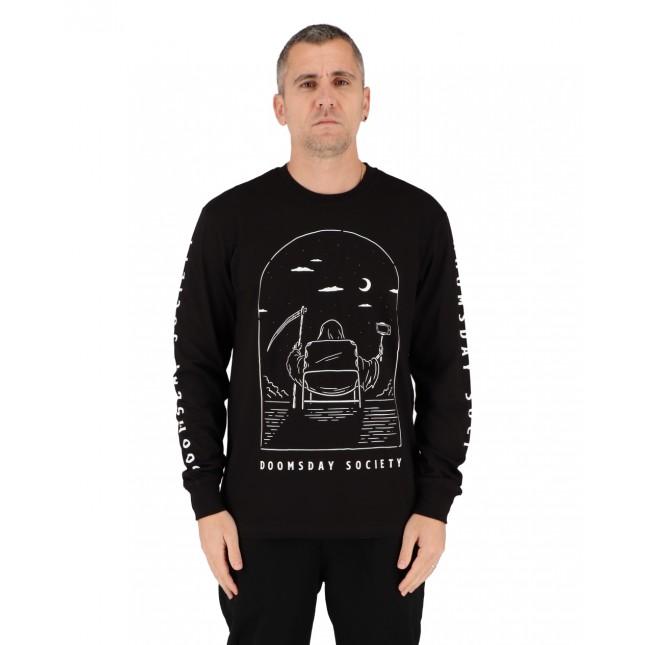 Doomsday T-Shirt Uomo Nera Selfie Stick Longsleeve Black