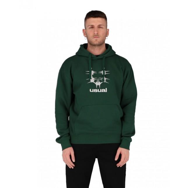 Usual Felpa Uomo Verde Logo Hoodie Green