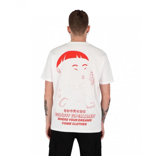 SSSTUFFF T-Shirt Uomo Bianca Self Paint Tee White