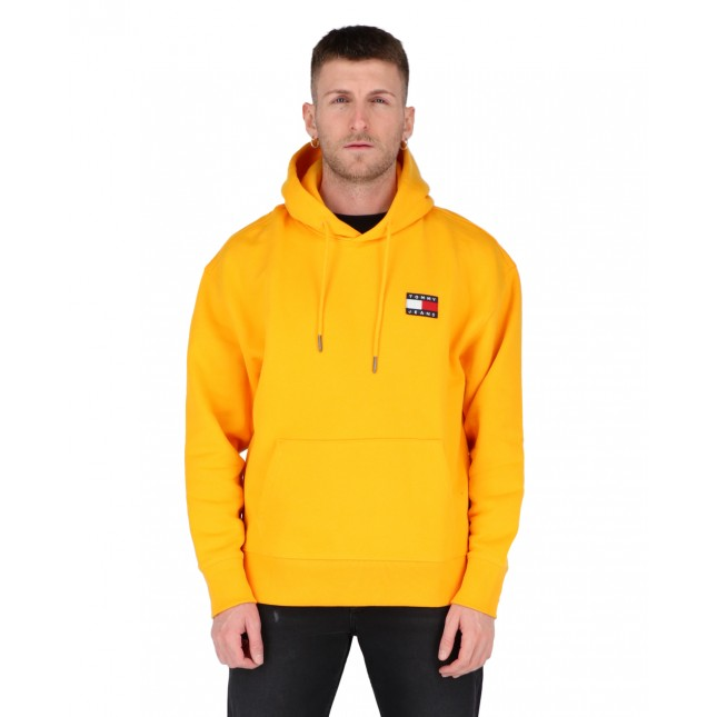 Tommy Jeans Felpa Uomo Arancione Badge Hoodie Florida Orange