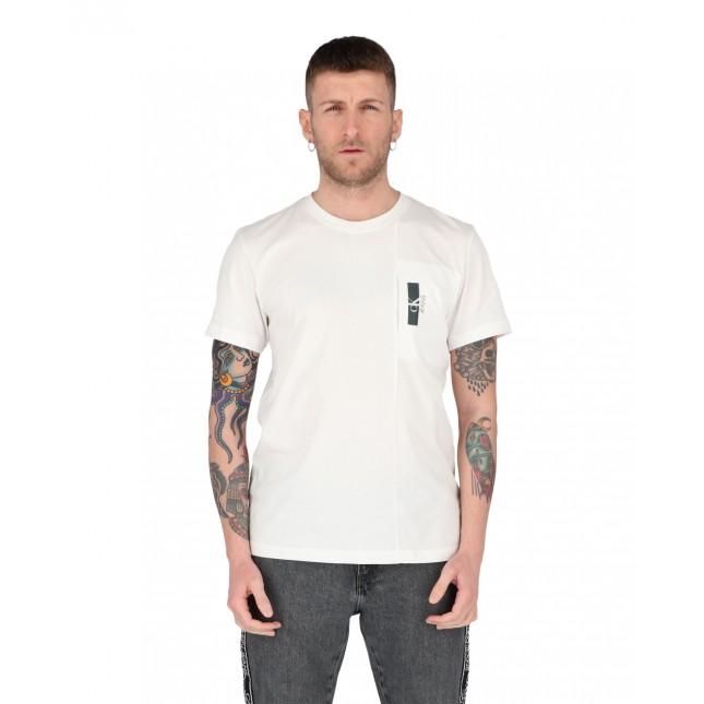 Calvin Klein T-Shirt Uomo Bianca Micro Side Pocket Tee Bright White