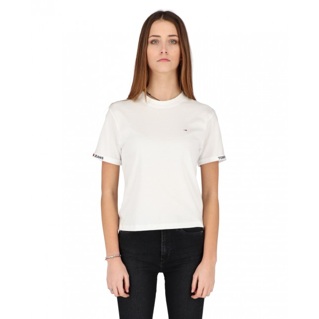 Tommy Jeans T-Shirt Donna Bianca Crop Branded Tee White