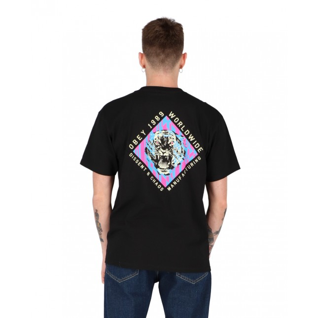 Obey T-Shirt Uomo Nera Dissent & Chaos Tiger Classic Tee Black