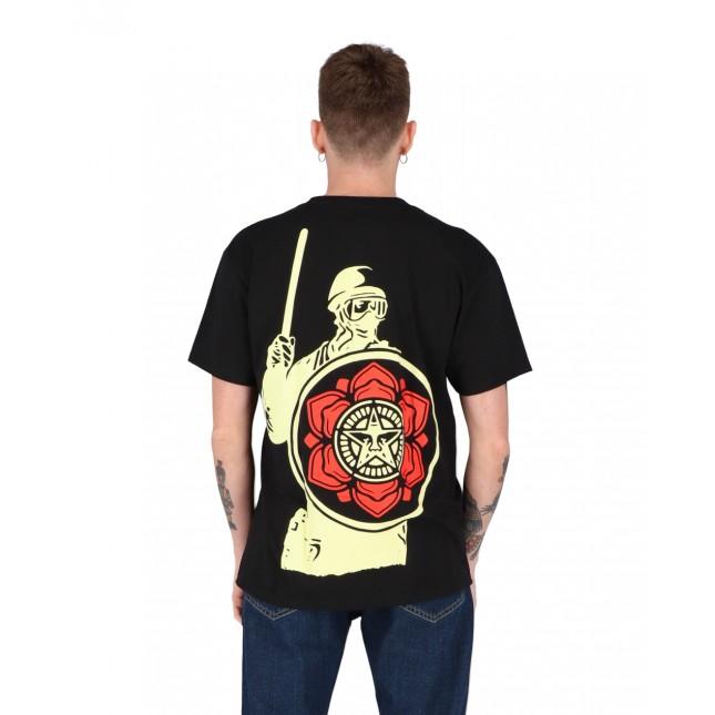 Obey T-Shirt Uomo Nera Riot Cop Peace Shield Classic Tee Black