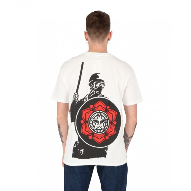 Obey T-Shirt Uomo Bianca Riot Cop Peace Shield Classic Tee White