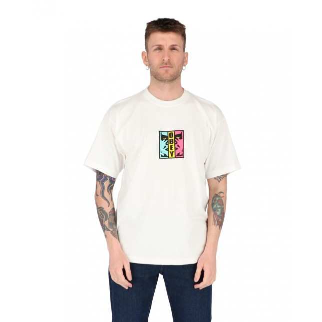Obey T-Shirt Uomo Bianca Divided Heavyweight Tee White