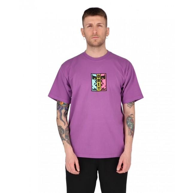 Obey T-Shirt Uomo Viola Divided Heavyweight Tee Purple Nitro
